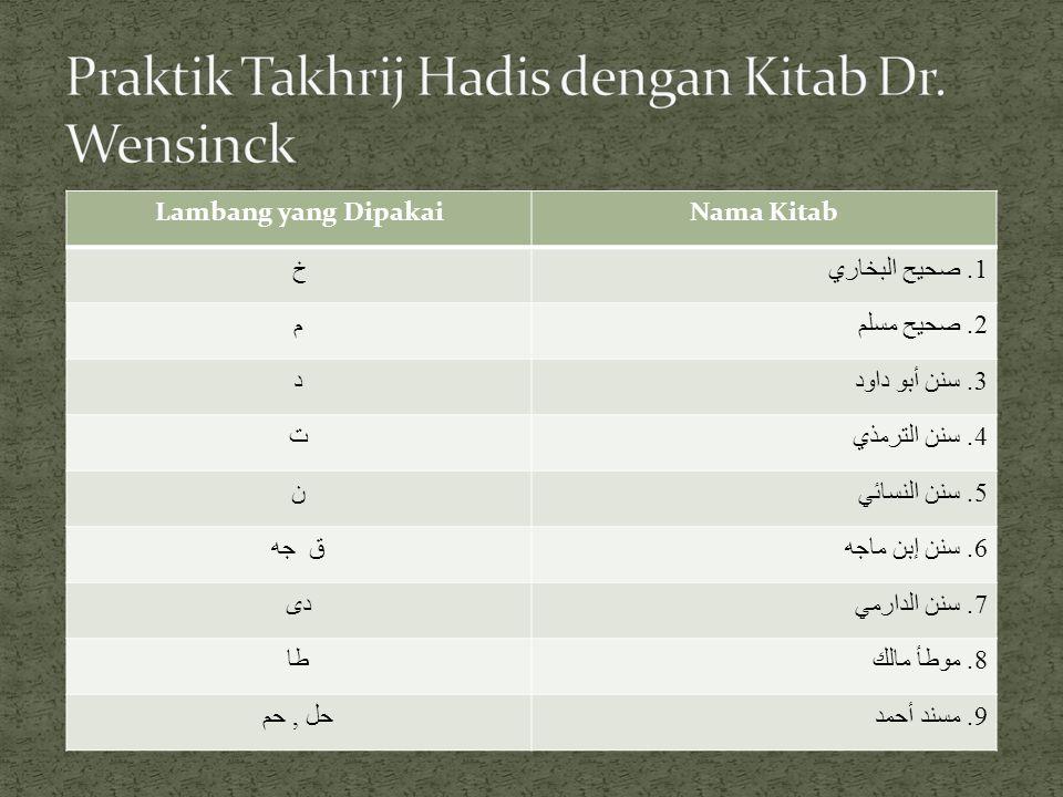 LambangPengertian & Maksudnya خ اعتكاف 5, 15, 16 أيمان 29 Hadis itu tercantum dalam Sahih Bukhari, kitab al-I'tikaf nomor urut bab : 5, 15, dan 16; juga termuat dalam kitab al- aiman, nomor urut bab 29 م صلاة 53, 54Hadis itu tercantum dalam Sahih Muslim, kitab al-Shalah, nomor urut hadis 53 dan 54 د أدب 90Hadis itu tercantum dalam Sunan Abu Daud, kitab al-Adab, nomor urut bab 90 ت فتن 46, 57Hadis itu tercantum dalam Sunan al-Turmudziy, kitab al- Fitan, nomor urut bab 46 dan 57