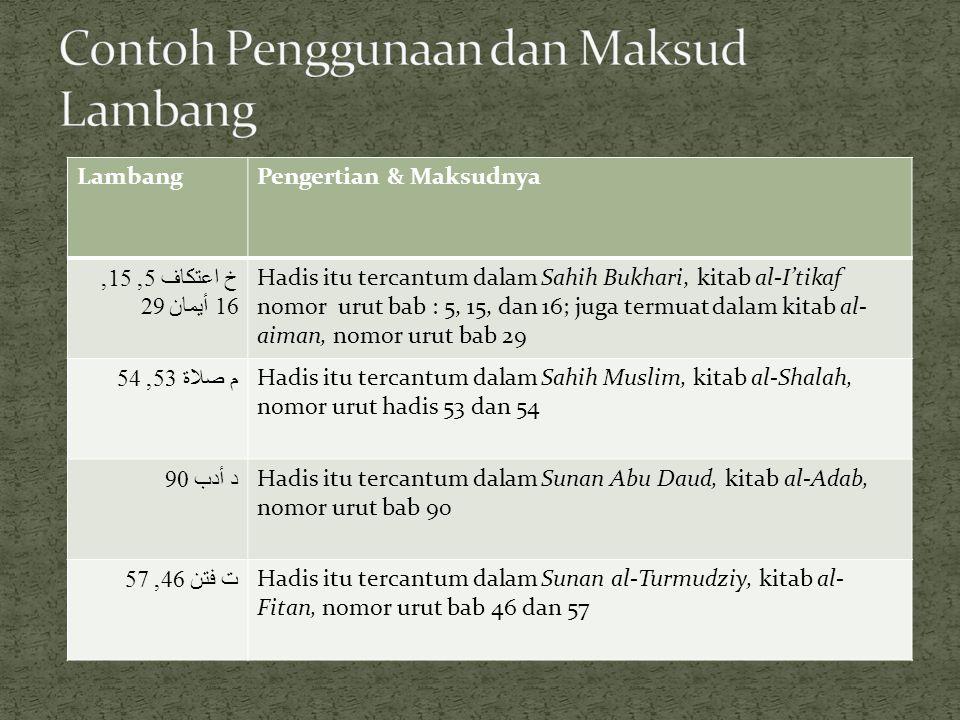 LambangPengertian & Maksudnya خ اعتكاف 5, 15, 16 أيمان 29 Hadis itu tercantum dalam Sahih Bukhari, kitab al-I'tikaf nomor urut bab : 5, 15, dan 16; ju