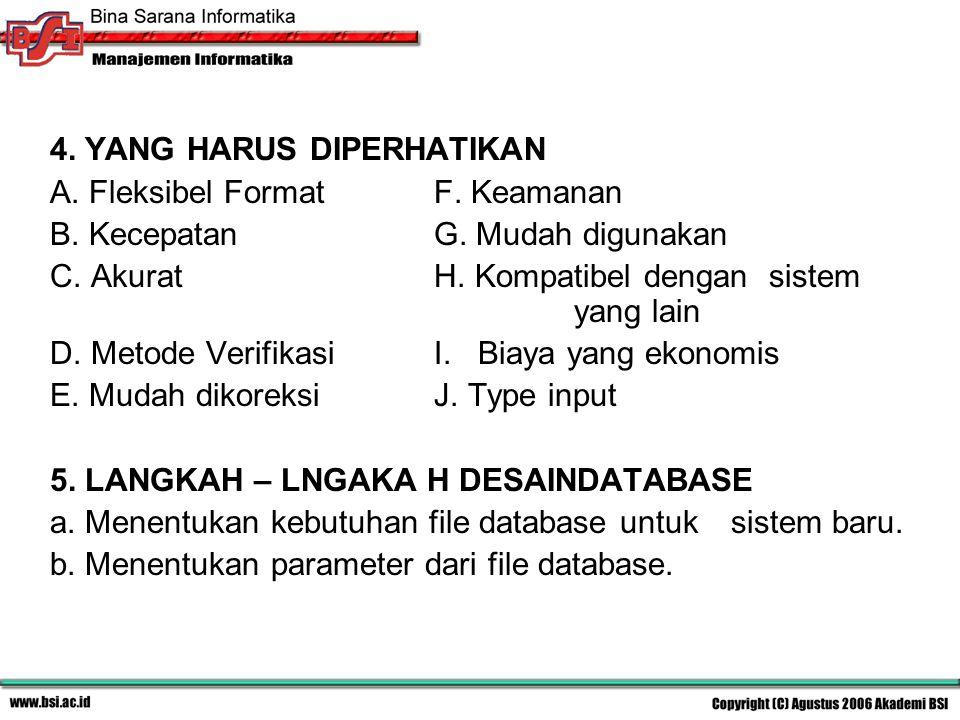 4. YANG HARUS DIPERHATIKAN A. Fleksibel FormatF. Keamanan B. KecepatanG. Mudah digunakan C. AkuratH. Kompatibel dengan sistem yang lain D. Metode Veri