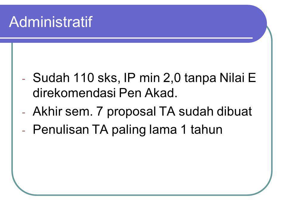 Administratif - Sudah 110 sks, IP min 2,0 tanpa Nilai E direkomendasi Pen Akad. - Akhir sem. 7 proposal TA sudah dibuat - Penulisan TA paling lama 1 t