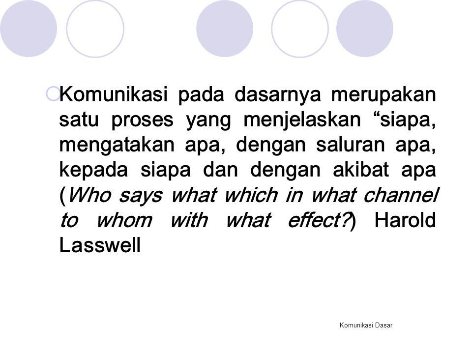 Komunikasi Dasar  Komunikasi pada dasarnya merupakan satu proses yang menjelaskan siapa, mengatakan apa, dengan saluran apa, kepada siapa dan dengan akibat apa (Who says what which in what channel to whom with what effect?) Harold Lasswell