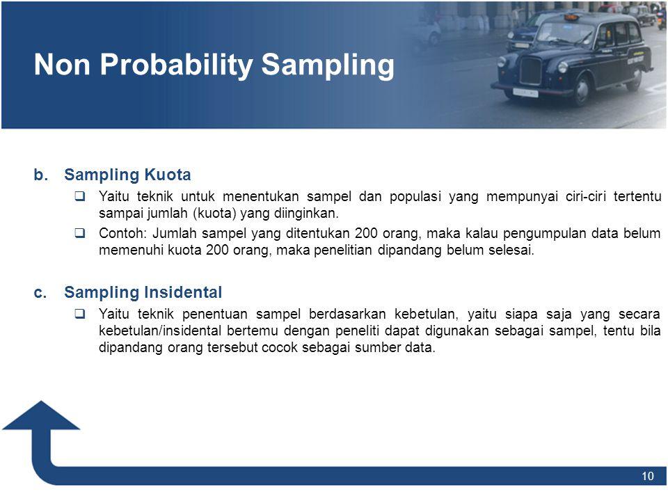 10 Non Probability Sampling b. b.Sampling Kuota  Yaitu teknik untuk menentukan sampel dan populasi yang mempunyai ciri-ciri tertentu sampai jumlah (k