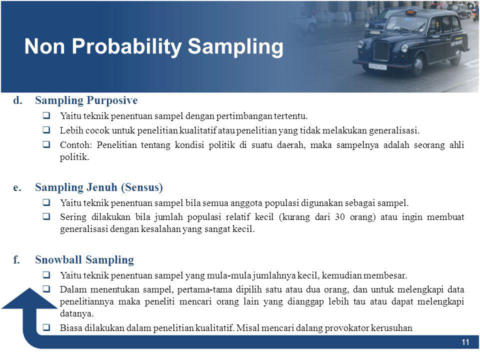 11 Non Probability Sampling d. d.Sampling Purposive  Yaitu teknik penentuan sampel dengan pertimbangan tertentu.  Lebih cocok untuk penelitian kuali