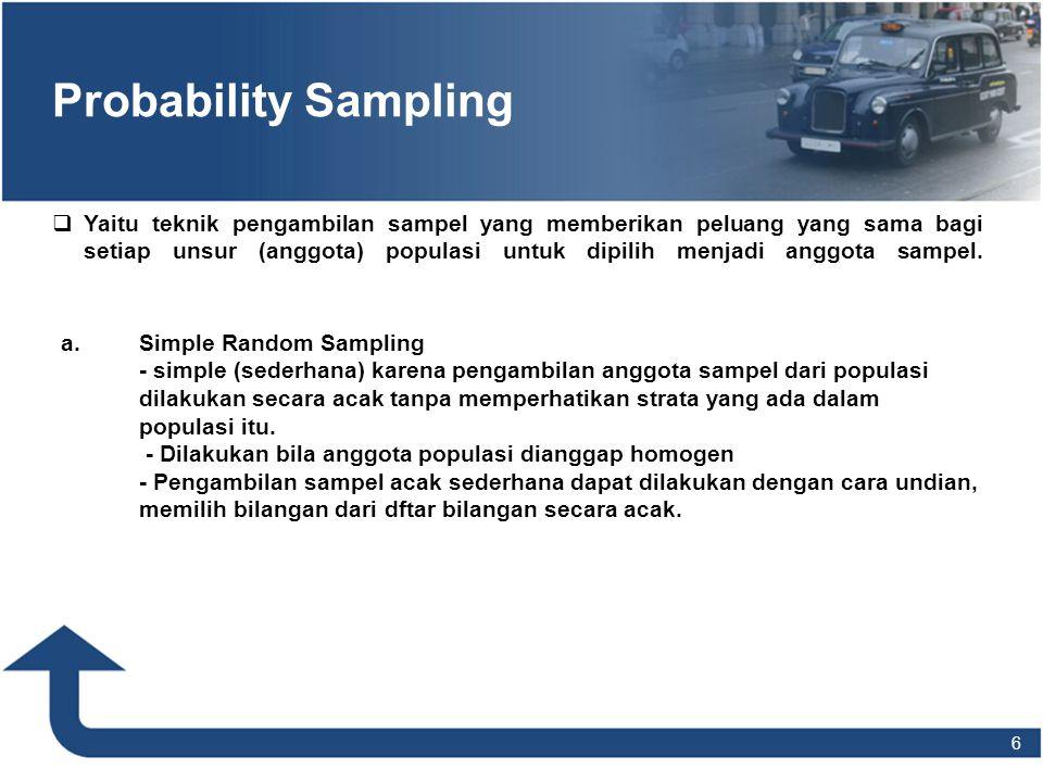 6 Probability Sampling  Yaitu teknik pengambilan sampel yang memberikan peluang yang sama bagi setiap unsur (anggota) populasi untuk dipilih menjadi