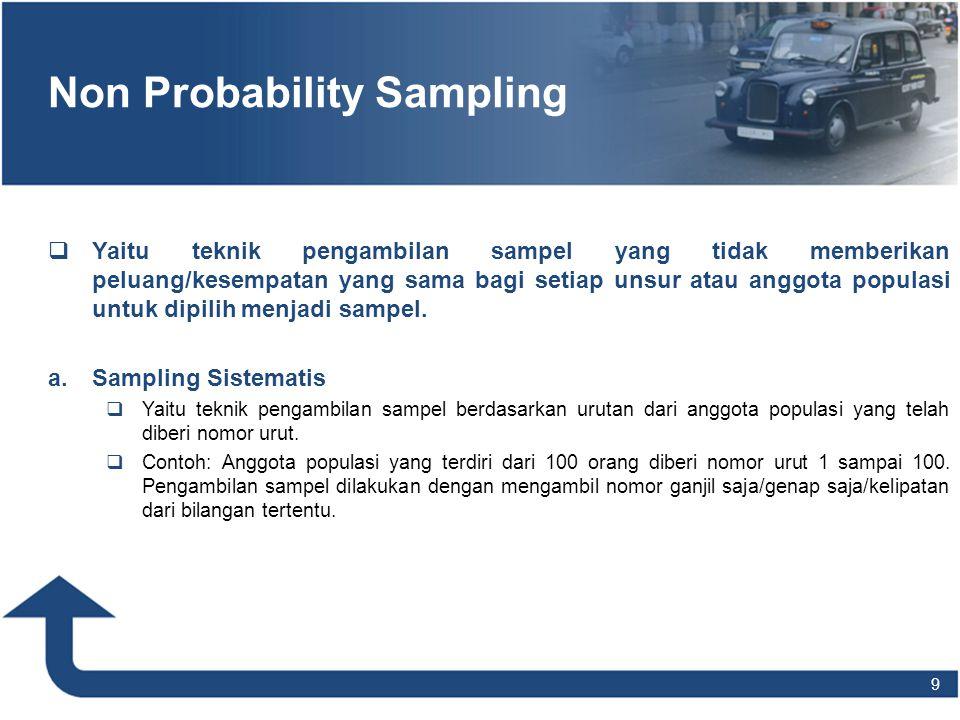 9 Non Probability Sampling   Yaitu teknik pengambilan sampel yang tidak memberikan peluang/kesempatan yang sama bagi setiap unsur atau anggota popul