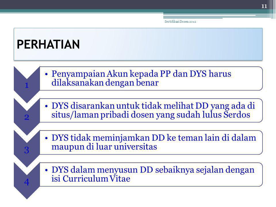 PERHATIAN 11 Sertifikasi Dosen 2012 1 Penyampaian Akun kepada PP dan DYS harus dilaksanakan dengan benar 2 DYS disarankan untuk tidak melihat DD yang