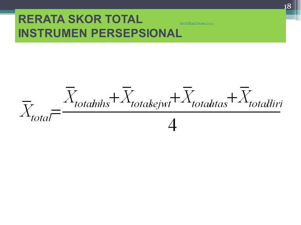 RERATA SKOR TOTAL INSTRUMEN PERSEPSIONAL 18 Sertifikasi Dosen 2013