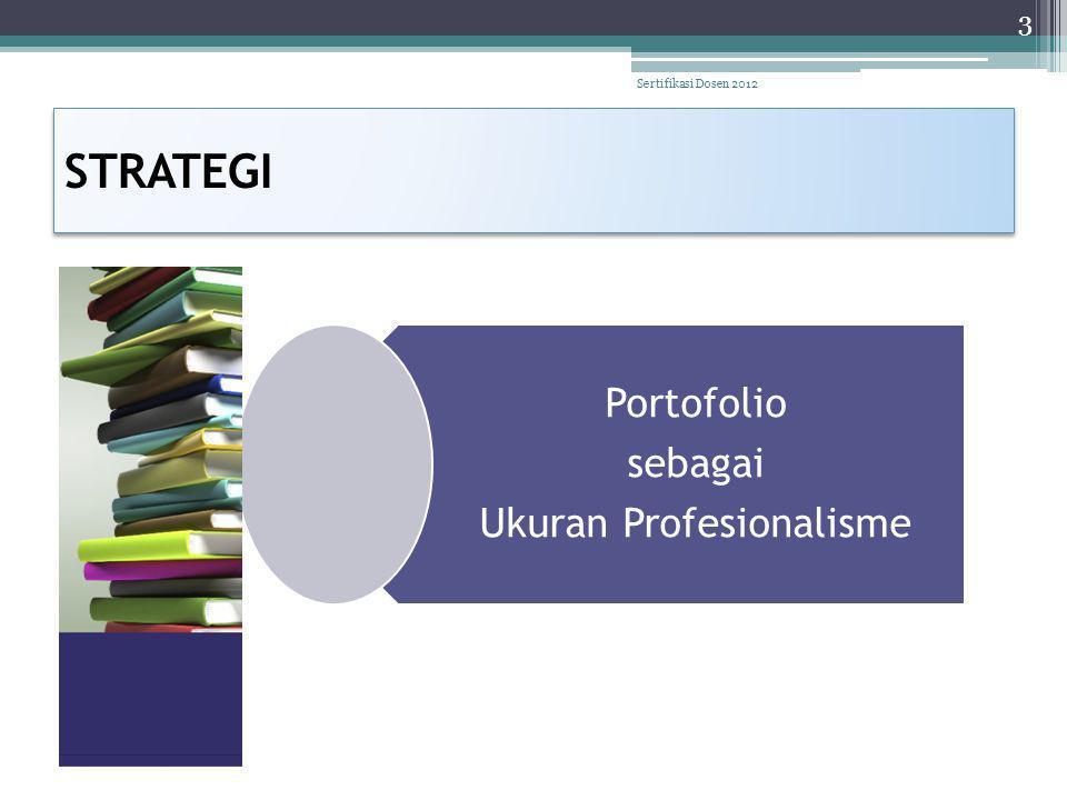 STRATEGI Portofolio sebagai Ukuran Profesionalisme 3 Sertifikasi Dosen 2012