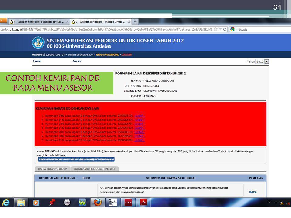 Sertifikasi Dosen 2012 34 CONTOH KEMIRIPAN DD PADA MENU ASESOR