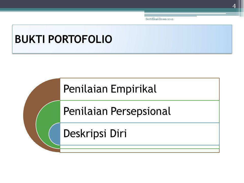 BUKTI PORTOFOLIO Penilaian Empirikal Penilaian Persepsional Deskripsi Diri 4 Sertifikasi Dosen 2012