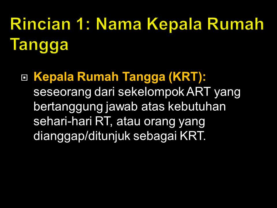  Kepala Rumah Tangga (KRT): seseorang dari sekelompok ART yang bertanggung jawab atas kebutuhan sehari-hari RT, atau orang yang dianggap/ditunjuk seb