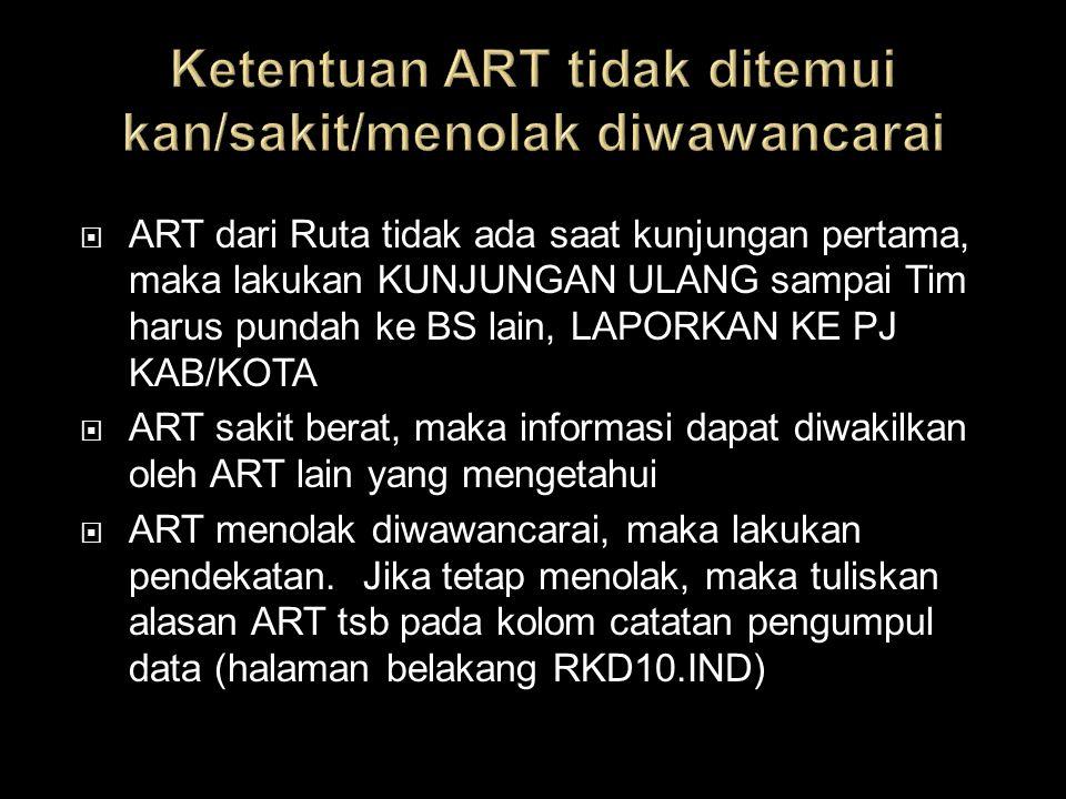  ART dari Ruta tidak ada saat kunjungan pertama, maka lakukan KUNJUNGAN ULANG sampai Tim harus pundah ke BS lain, LAPORKAN KE PJ KAB/KOTA  ART sakit