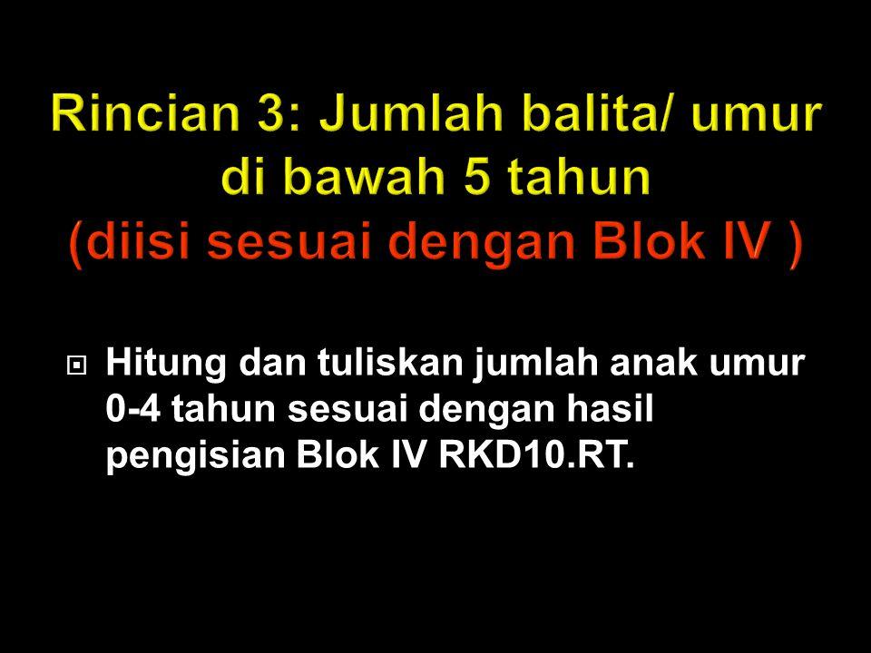  Hitung dan tuliskan jumlah anak umur 0-4 tahun sesuai dengan hasil pengisian Blok IV RKD10.RT.