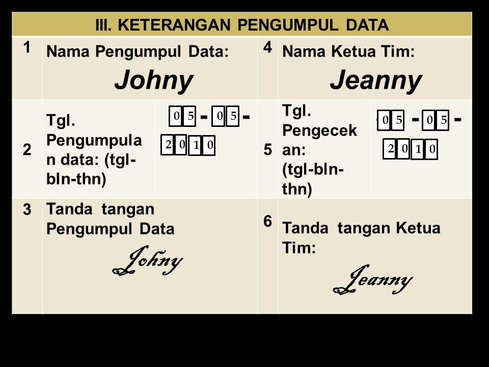 III. KETERANGAN PENGUMPUL DATA 1 Nama Pengumpul Data: Johny 4 Nama Ketua Tim: Jeanny 2 Tgl. Pengumpula n data: (tgl- bln-thn) - - 5 Tgl. Pengecek an: