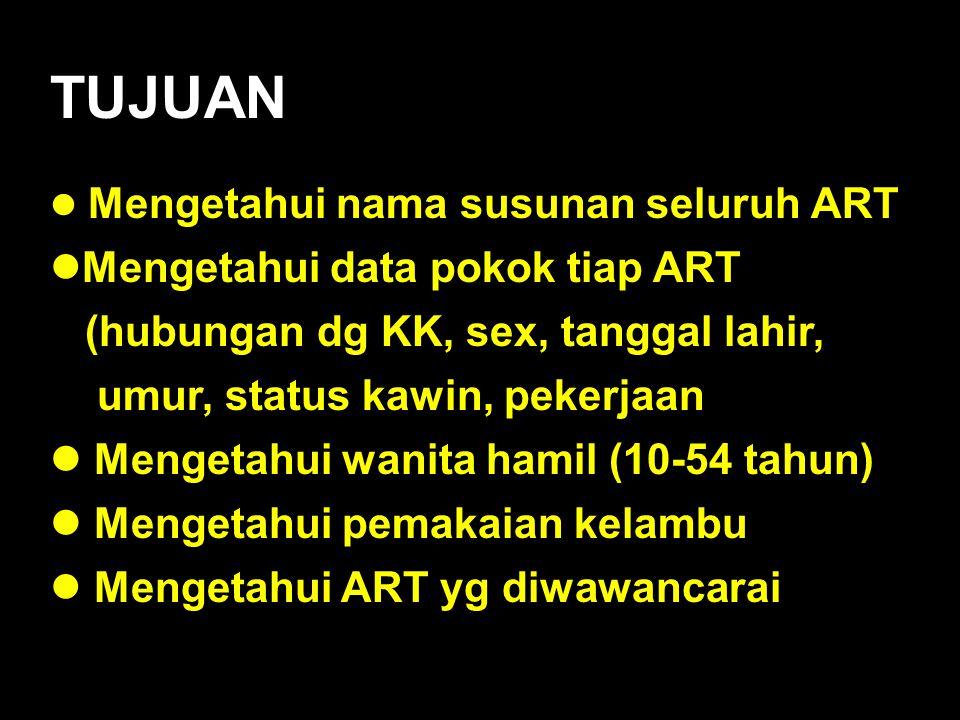 TUJUAN Mengetahui nama susunan seluruh ART Mengetahui nama susunan seluruh ART Mengetahui data pokok tiap ART Mengetahui data pokok tiap ART (hubungan
