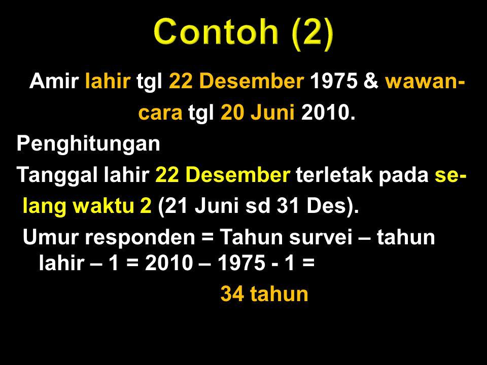 Amir lahir tgl 22 Desember 1975 & wawan- cara tgl 20 Juni 2010. Penghitungan Tanggal lahir 22 Desember terletak pada se- lang waktu 2 (21 Juni sd 31 D