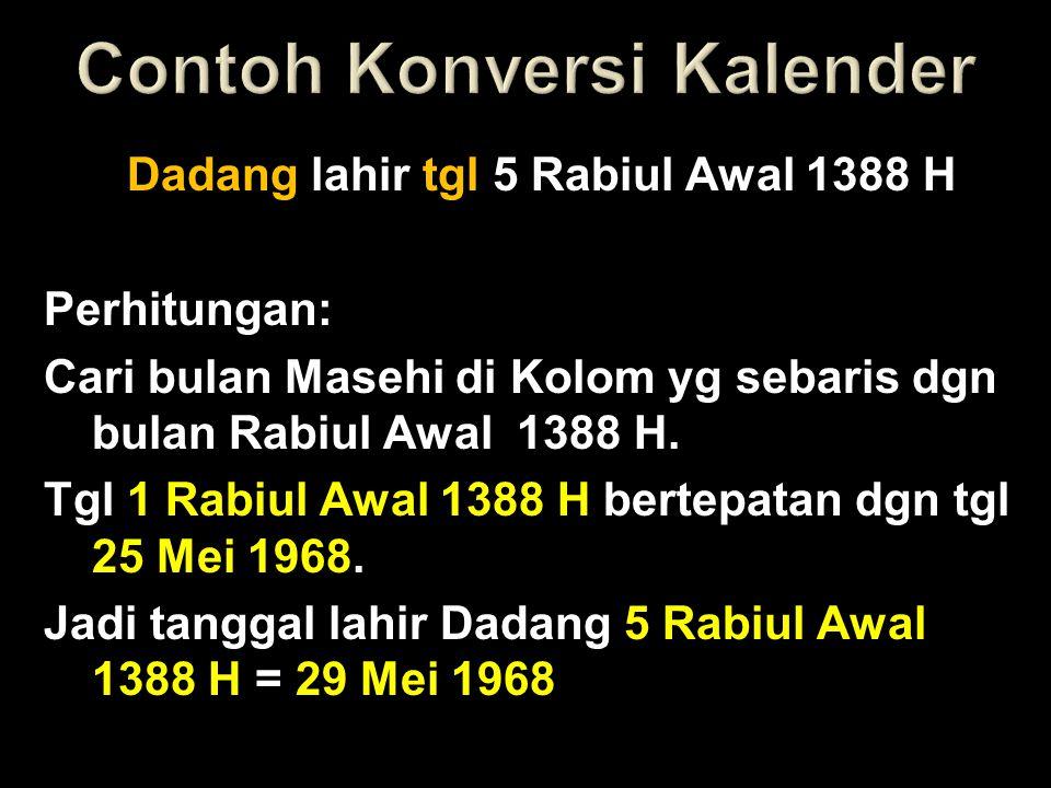 Dadang lahir tgl 5 Rabiul Awal 1388 H Perhitungan: Cari bulan Masehi di Kolom yg sebaris dgn bulan Rabiul Awal 1388 H. Tgl 1 Rabiul Awal 1388 H bertep