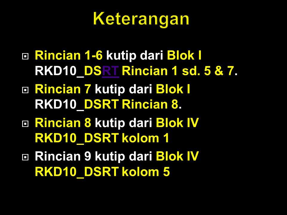  Rincian 1-6 kutip dari Blok I RKD10_DSRT Rincian 1 sd. 5 & 7.RT  Rincian 7 kutip dari Blok I RKD10_DSRT Rincian 8.  Rincian 8 kutip dari Blok IV R