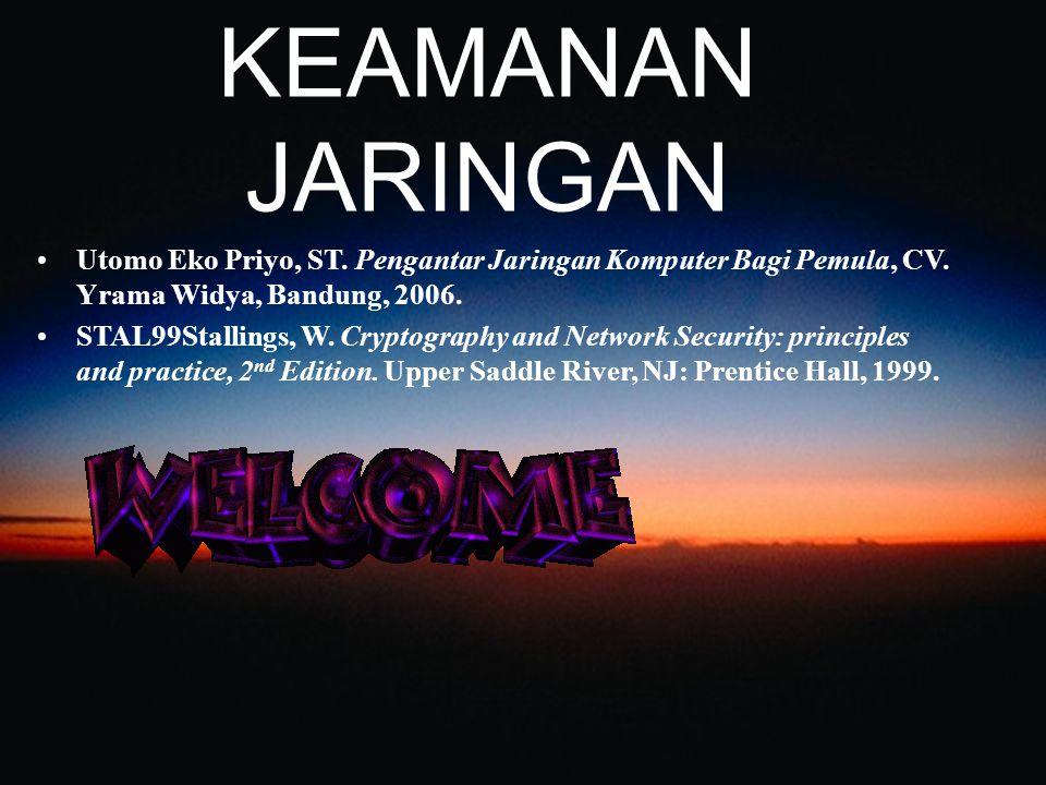KEAMANAN JARINGAN Utomo Eko Priyo, ST. Pengantar Jaringan Komputer Bagi Pemula, CV. Yrama Widya, Bandung, 2006. STAL99Stallings, W. Cryptography and N