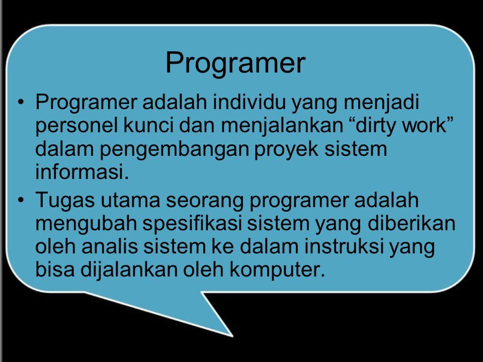 """Programer Programer adalah individu yang menjadi personel kunci dan menjalankan """"dirty work"""" dalam pengembangan proyek sistem informasi. Tugas utama s"""