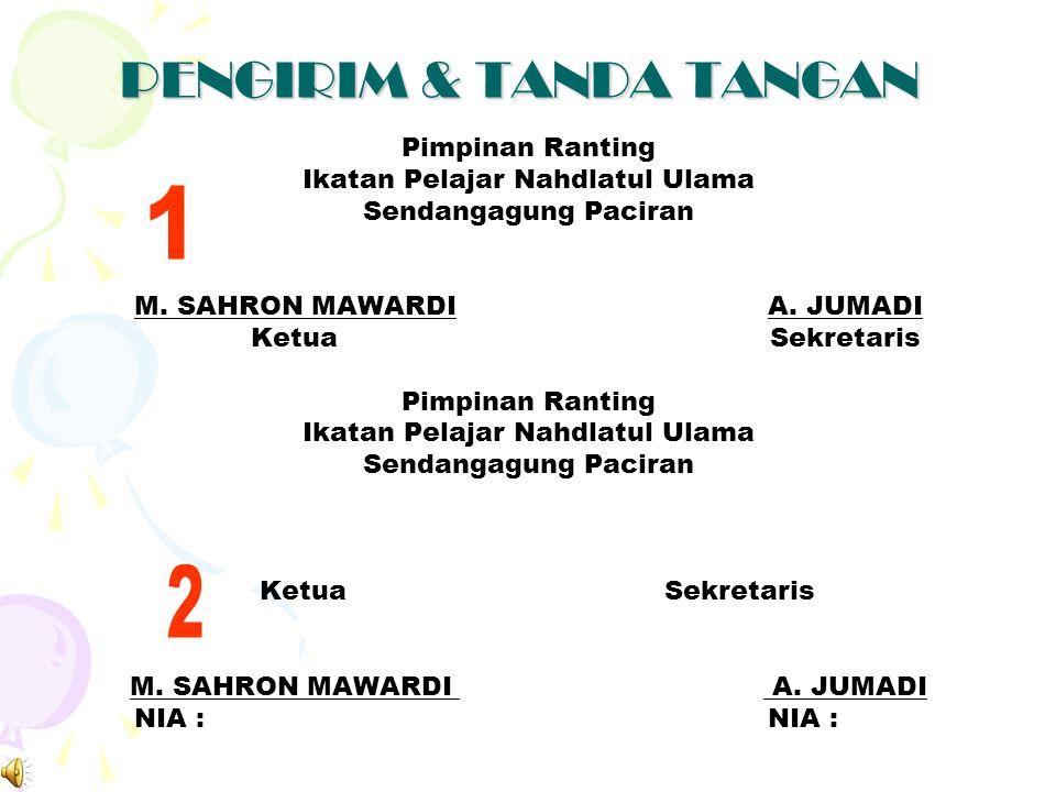 TANGGAL SURAT Sendangagung, 28 Dzul Qo'dah 1434 H. 4 Oktober 2013 M.  Ditulis dibawah kanan surat  Harus disesuaikan dengan tempat/kedudukan organis