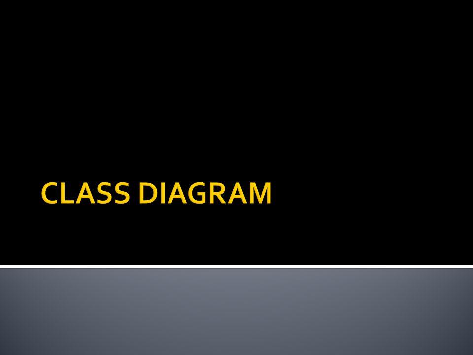 ●Diagram yang paling umum dijumpai pada pemodelan berbasis UML ● Apa yang ada pada class diagram o Class dan interface beserta atribut dan operasinya o Relasi yang terjadi antar objek o Constraint terhadap objek-objek yang saling berhubungan o Inheritance untuk organisasi class yang lebih baik ● Static view dari elemen pembangun sistem