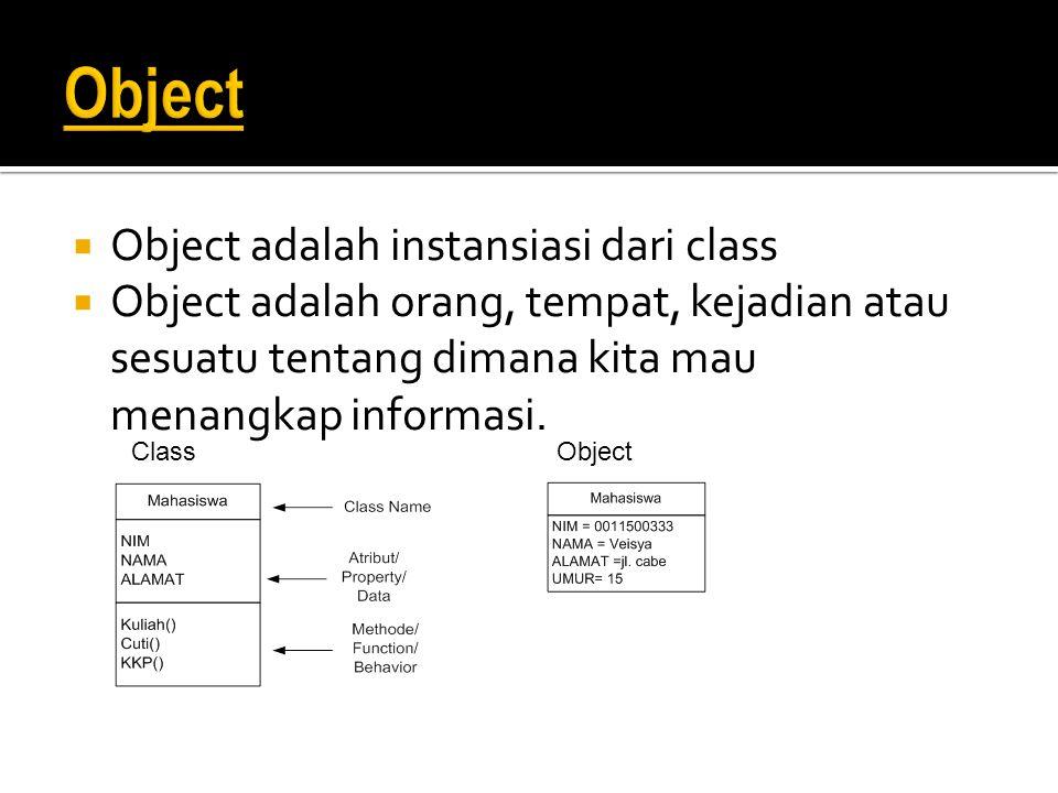  Object adalah instansiasi dari class  Object adalah orang, tempat, kejadian atau sesuatu tentang dimana kita mau menangkap informasi. ClassObject