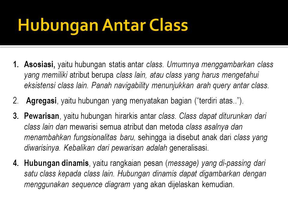 1. Asosiasi, yaitu hubungan statis antar class. Umumnya menggambarkan class yang memiliki atribut berupa class lain, atau class yang harus mengetahui
