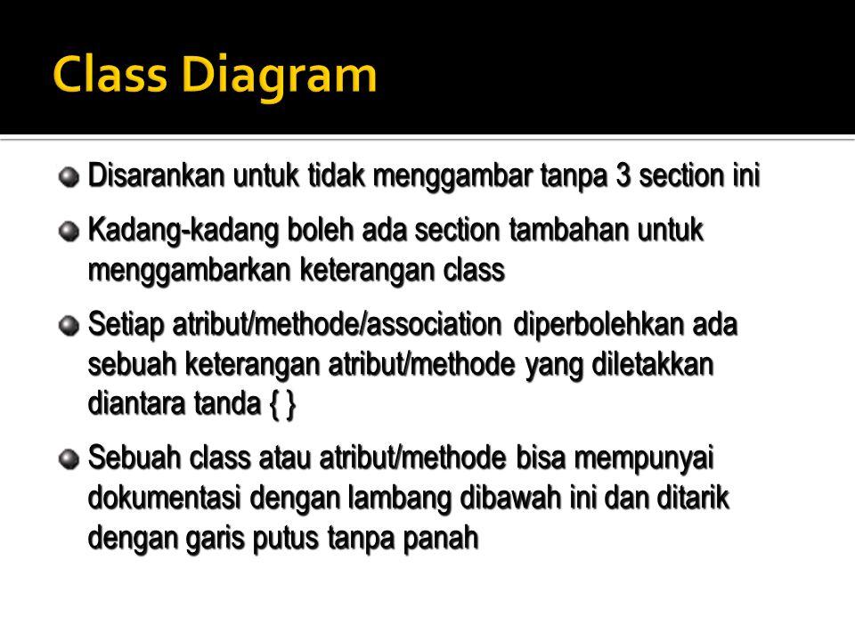 Disarankan untuk tidak menggambar tanpa 3 section ini Kadang-kadang boleh ada section tambahan untuk menggambarkan keterangan class Setiap atribut/met