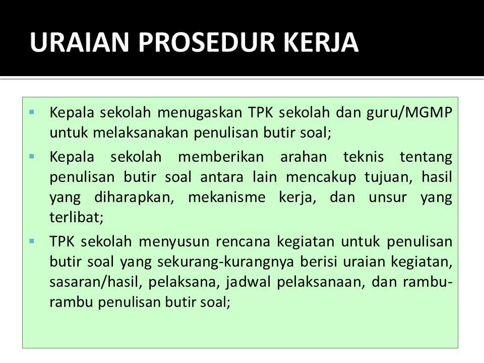  Kepala sekolah menugaskan TPK sekolah dan guru/MGMP untuk melaksanakan penulisan butir soal;  Kepala sekolah memberikan arahan teknis tentang penul