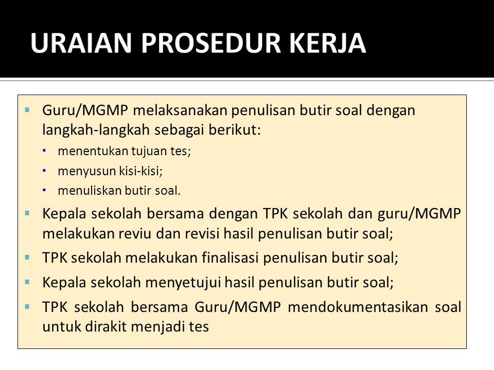  Guru/MGMP melaksanakan penulisan butir soal dengan langkah-langkah sebagai berikut:  menentukan tujuan tes;  menyusun kisi-kisi;  menuliskan buti