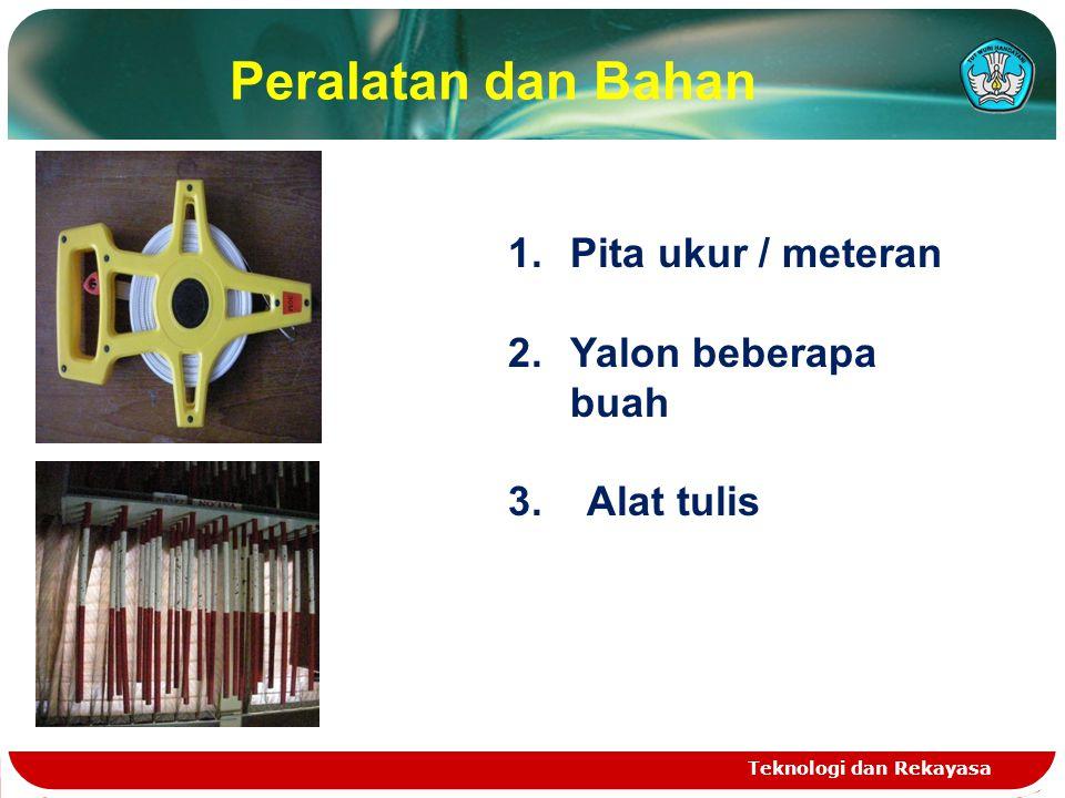 Peralatan dan Bahan Teknologi dan Rekayasa 1.Pita ukur / meteran 2.Yalon beberapa buah 3. Alat tulis