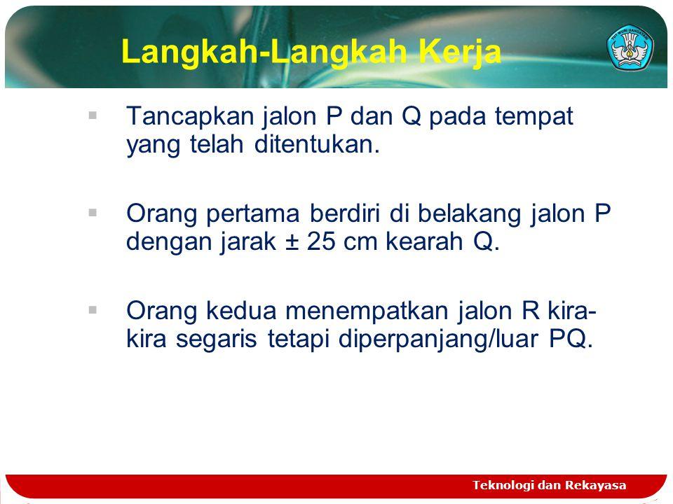 Langkah-Langkah Kerja  Tancapkan jalon P dan Q pada tempat yang telah ditentukan.  Orang pertama berdiri di belakang jalon P dengan jarak ± 25 cm ke