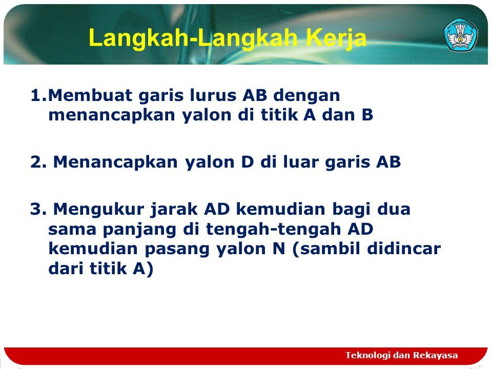 Langkah-Langkah Kerja 1.Membuat garis lurus AB dengan menancapkan yalon di titik A dan B 2. Menancapkan yalon D di luar garis AB 3. Mengukur jarak AD