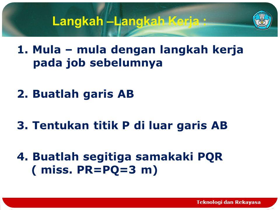 Langkah –Langkah Kerja : 1. Mula – mula dengan langkah kerja pada job sebelumnya 2. Buatlah garis AB 3. Tentukan titik P di luar garis AB 4. Buatlah s