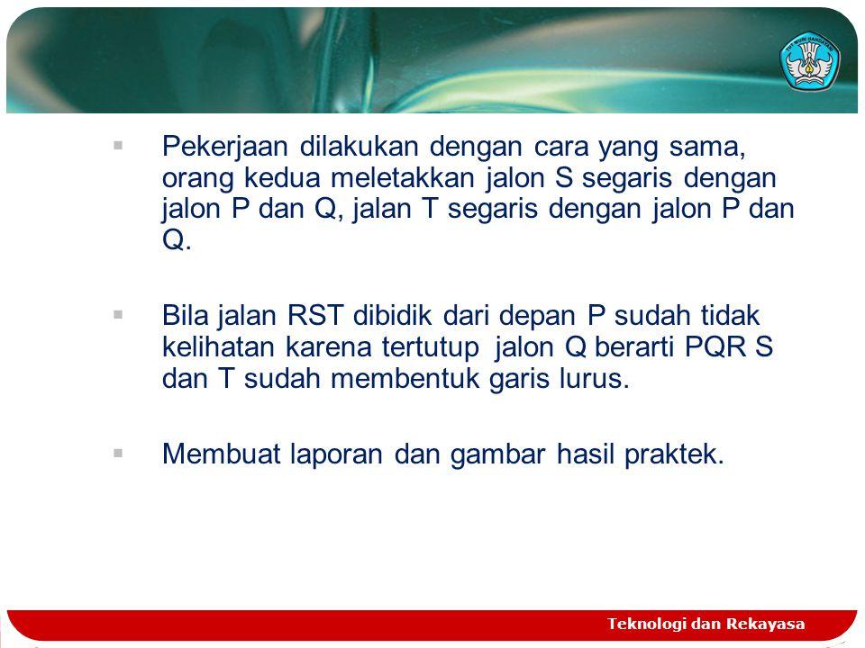  Pekerjaan dilakukan dengan cara yang sama, orang kedua meletakkan jalon S segaris dengan jalon P dan Q, jalan T segaris dengan jalon P dan Q.  Bila