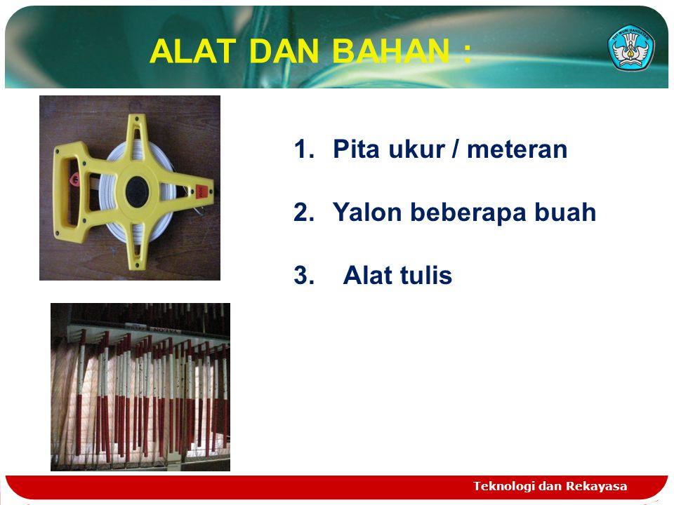 ALAT DAN BAHAN : Teknologi dan Rekayasa 1.Pita ukur / meteran 2.Yalon beberapa buah 3. Alat tulis