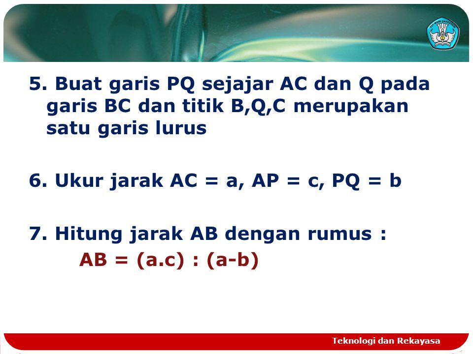 5. Buat garis PQ sejajar AC dan Q pada garis BC dan titik B,Q,C merupakan satu garis lurus 6. Ukur jarak AC = a, AP = c, PQ = b 7. Hitung jarak AB den