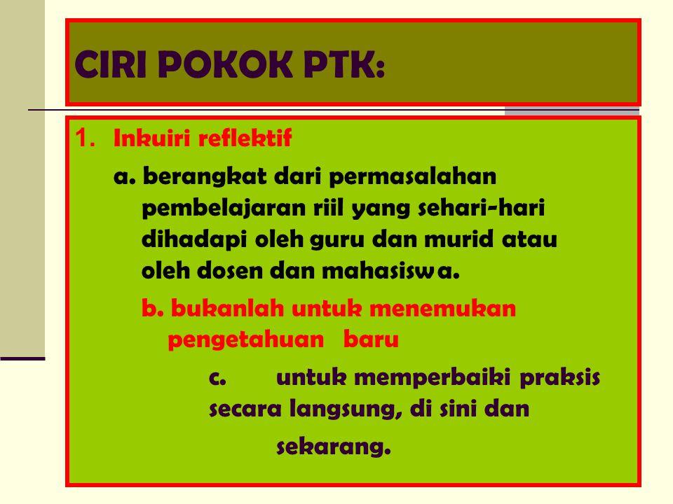 CIRI POKOK PTK: 1. Inkuiri reflektif a.