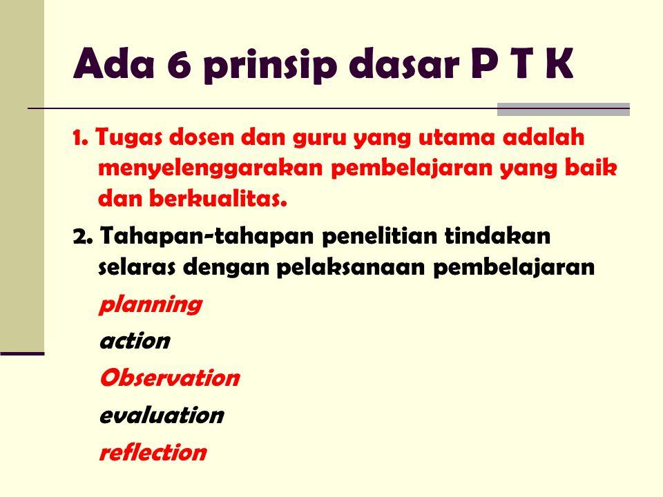 Ada 6 prinsip dasar P T K 1. Tugas dosen dan guru yang utama adalah menyelenggarakan pembelajaran yang baik dan berkualitas. 2. Tahapan-tahapan peneli