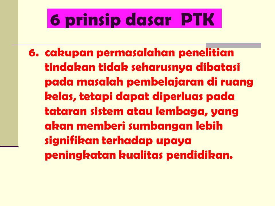 6 prinsip dasar PTK 6. cakupan permasalahan penelitian tindakan tidak seharusnya dibatasi pada masalah pembelajaran di ruang kelas, tetapi dapat diper
