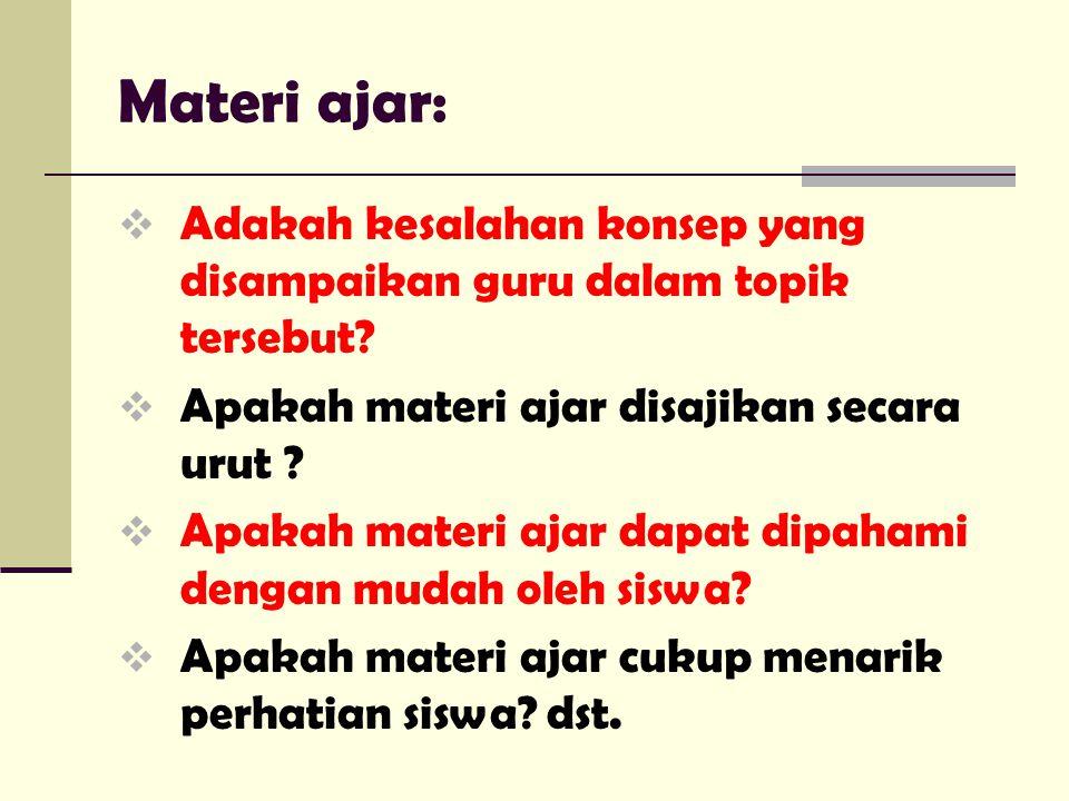 Materi ajar:  Adakah kesalahan konsep yang disampaikan guru dalam topik tersebut.