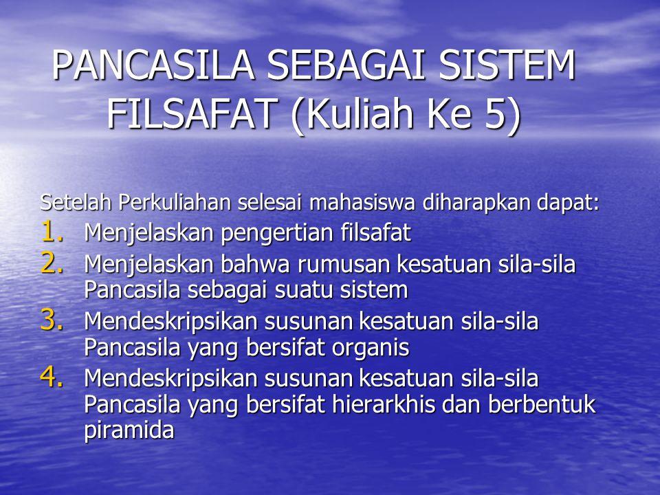 PANCASILA SEBAGAI SISTEM FILSAFAT (Kuliah Ke 5) Setelah Perkuliahan selesai mahasiswa diharapkan dapat: 1.