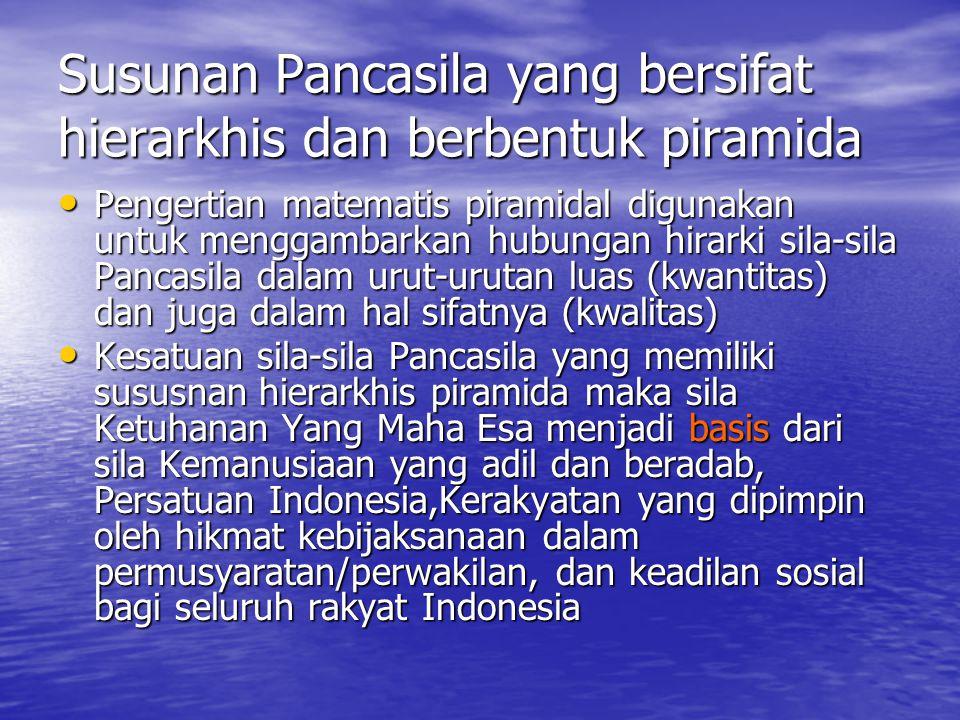 Susunan Pancasila yang bersifat hierarkhis dan berbentuk piramida Pengertian matematis piramidal digunakan untuk menggambarkan hubungan hirarki sila-sila Pancasila dalam urut-urutan luas (kwantitas) dan juga dalam hal sifatnya (kwalitas) Kesatuan sila-sila Pancasila yang memiliki sususnan hierarkhis piramida maka sila Ketuhanan Yang Maha Esa menjadi basis dari sila Kemanusiaan yang adil dan beradab, Persatuan Indonesia,Kerakyatan yang dipimpin oleh hikmat kebijaksanaan dalam permusyaratan/perwakilan, dan keadilan sosial bagi seluruh rakyat Indonesia