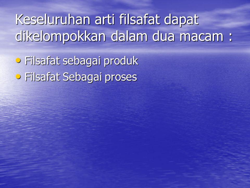 Keseluruhan arti filsafat dapat dikelompokkan dalam dua macam : Filsafat sebagai produk Filsafat sebagai produk Filsafat Sebagai proses Filsafat Sebagai proses