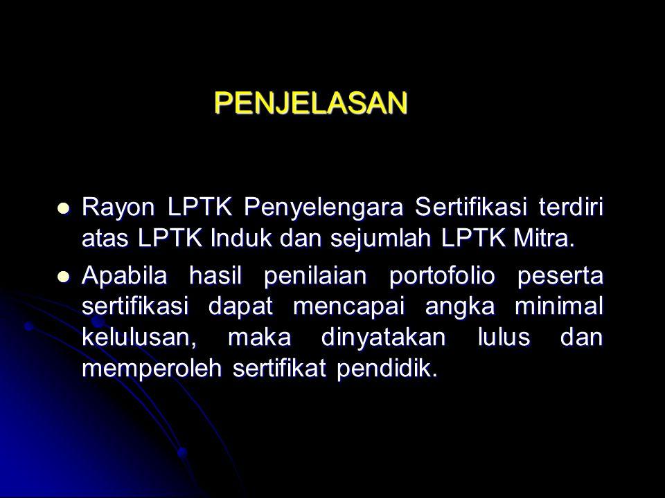 PENJELASAN Rayon LPTK Penyelengara Sertifikasi terdiri atas LPTK Induk dan sejumlah LPTK Mitra.