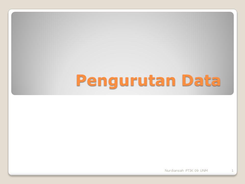 Pengurutan Data 1Nurdiansah PTIK 09 UNM
