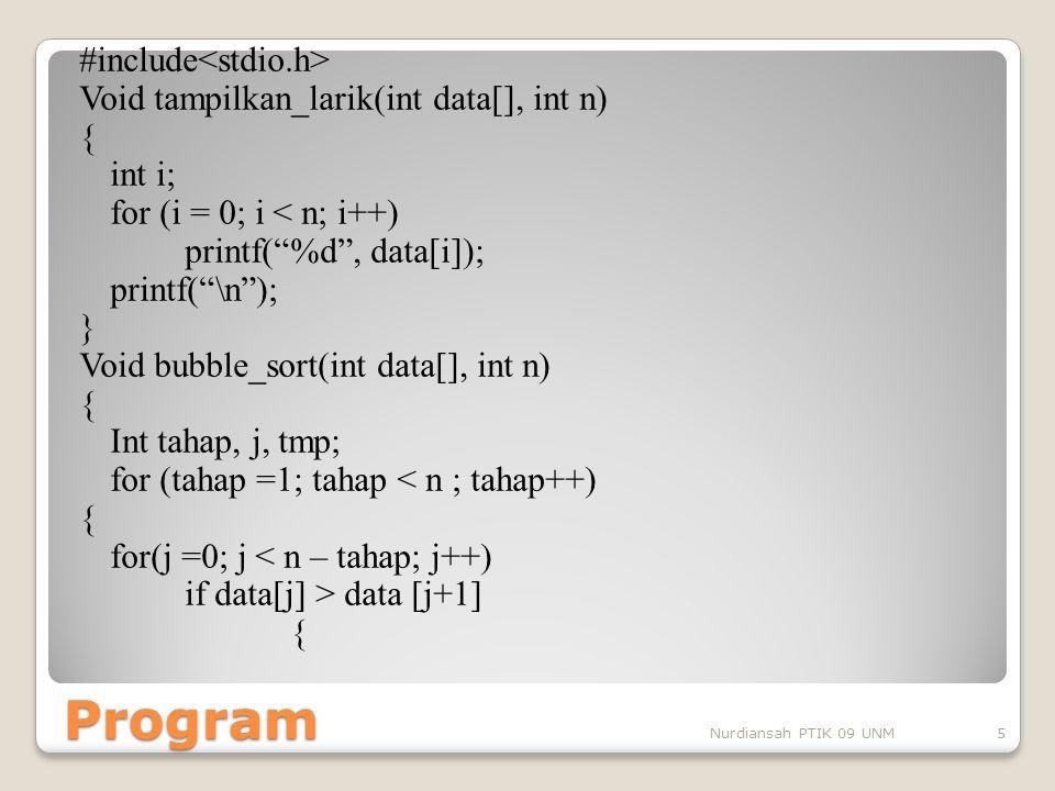 "Program #include Void tampilkan_larik(int data[], int n) { int i; for (i = 0; i < n; i++) printf(""%d"", data[i]); printf(""\n""); } Void bubble_sort(int"