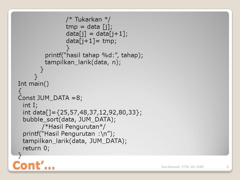 """Cont'… /* Tukarkan */ tmp = data [j]; data[j] = data[j+1]; data[j+1]= tmp; } printf(""""hasil tahap %d:"""", tahap); tampilkan_larik(data, n); } Int main()"""