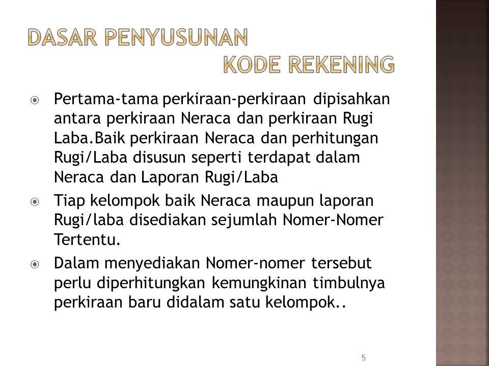  Pertama-tama perkiraan-perkiraan dipisahkan antara perkiraan Neraca dan perkiraan Rugi Laba.Baik perkiraan Neraca dan perhitungan Rugi/Laba disusun